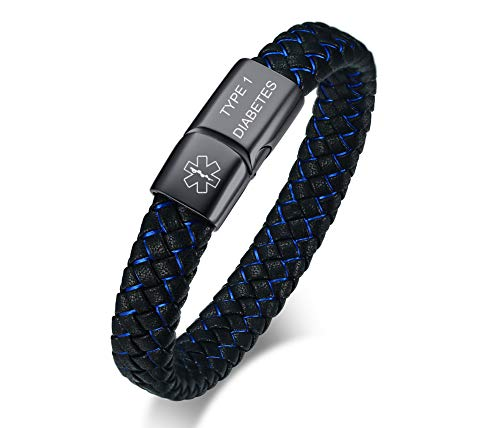 VNOX Medical Alert ID Type 1 Diabetes Blue&Black Braided Leather Stainless Steel Magnetic Cuff Bracelet