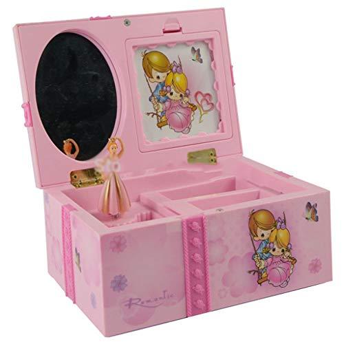 Liutao Dream Girl Caja de música for niños Musicales joyería Caja Rectangular con Rosado de la Bailarina Alicia en la Caja de música