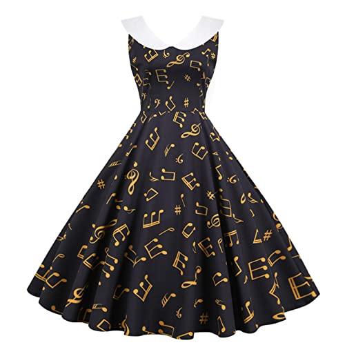 Damen Kleider Frauen Vintage Retro Blumen Drucken Prinzessin Abendkleid Hevoiok Kleidung Mode Bodycon Partykleid Ärmellos Prom Swing Kleid (Grau, M)