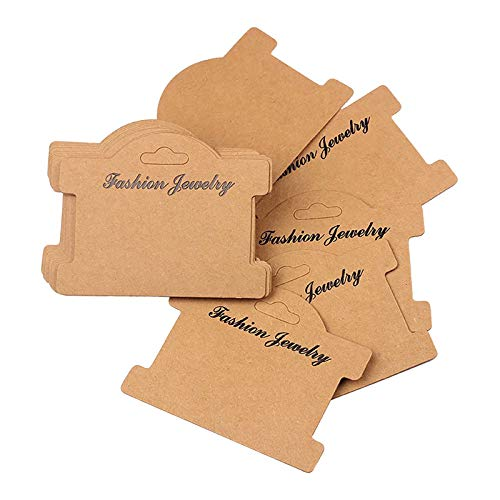 100pcs Jewelry Display Cards Bracelet Display Cards Necklace Card Holder Hanging Cards Earrings Showing Tags (3.7x3 in, Brown)