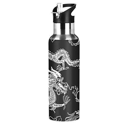 xigua Botella de agua deportiva aislada con tapa de popote de acero inoxidable al vacío, botellas térmicas a prueba de fugas, estilo dragón fresco