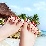 NA Uñas Postizas 24Pcs / Set Cubierta Completa Shiny Lattice Acrílico Falso Uña del Pie con 2G Pegamento Beach Holiday Nail Nail