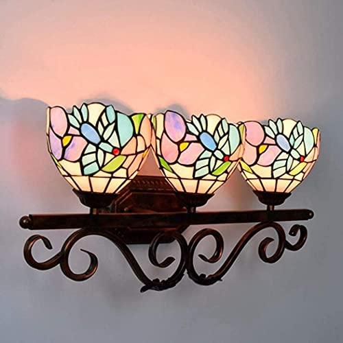 Wall Sconce Iluminación Tiffany Style Wall Sconce Lamp Lámpara de pared de vidrieras Iluminación para la escalera de la escalera de la escalera de la escalera de la escalera del balcón 3 luces