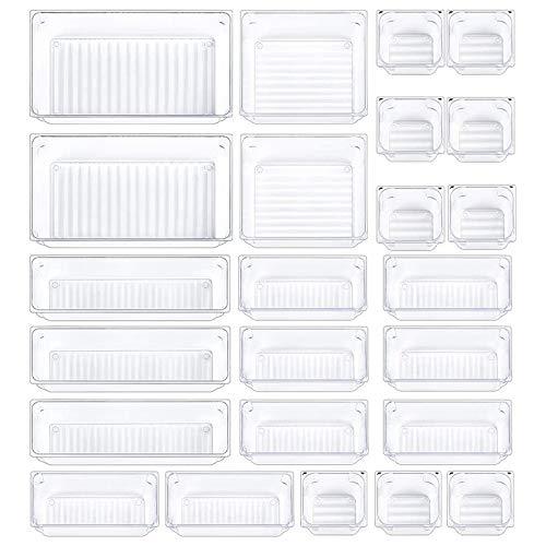 Cobeky 24 cajones organizadores de escritorio de baño, bandejas transparentes para cajones, separadores de cajones versátiles, 5 tamaños de almacenamiento para oficina