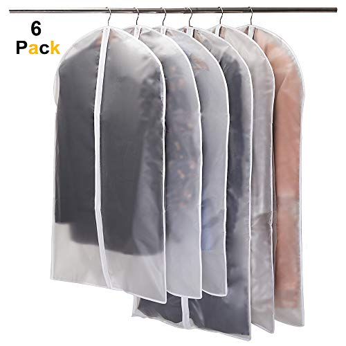 Garment Covers, Dustproof Clothes Covers Niviy Moth Proof Coat Bag with Zip, PEVA Translucent Dress Cover Waterproof Anti-mite Breathable Suit Protector, 3pcs 60*100cm, 3pcs 60*120cm (white)