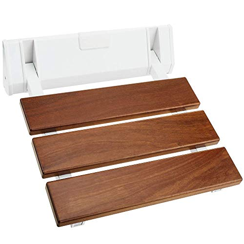 PrimeMatik - Duschklappsitz. Faltender Duschsitz. Duschstuhl aus tropisches Holz und Aluminium 320x328mm