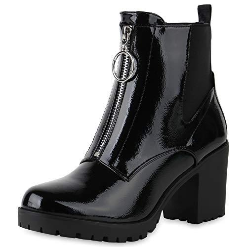 SCARPE VITA Klassische Damen Stiefeletten Leicht Gefütterte Boots Leder-Optik Schuhe Kurzschaft-Stiefel Profilsohle 169538 Schwarz Lack 39