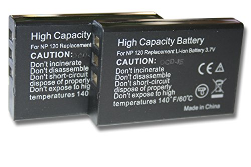 2 x vhbw Akku Set 1600mAh (3.7V) für Kamera Aiptek HDDV 8300, Cinema V10 Plus, AHD H12 Extreme wie NP-120.