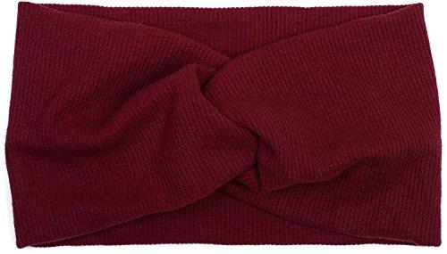 styleBREAKER Damen Haarband in Feinripp Optik mit Schleife, Twist Knoten, Stirnband, Headband 04026009, Farbe:Bordeaux-Rot