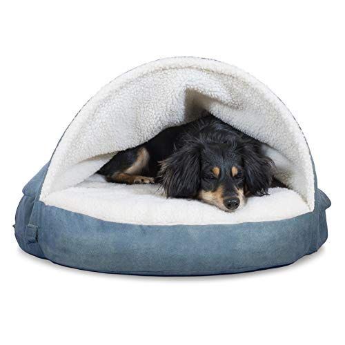Furhaven Pet Dog Bed - Cooling Gel Memory Foam Orthopedic Round Cuddle Nest Faux Sheepskin Snuggery Blanket Pet Bed with Removable Cover for Dogs and Cats, Blue, 26-Inch