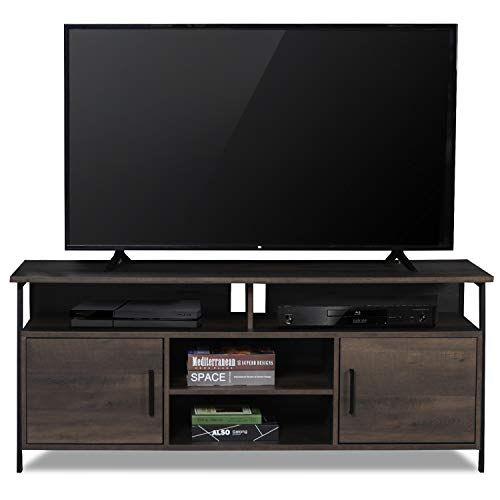 Sekey Home 58' Entertainment Center Wood Media TV Stand | Storage Console, Smoky Oak