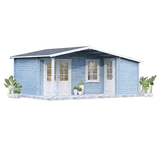 Alpholz Gartenhaus Nordkapp-40 A aus Massiv-Holz | Gerätehaus mit 40 mm Wandstärke | Garten Holzhaus inklusive Montagematerial | Geräteschuppen Größe: 538 x 448 cm | Satteldach