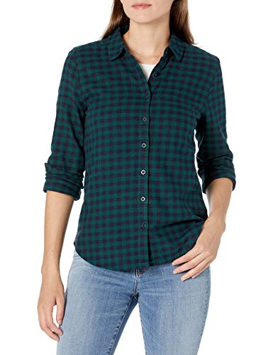 Goodthreads Brushed Flannel Drop-Shoulder Long-Sleeve button-down-shirts, Deep Emerald/Navy Mini Buffalo Plaid, L