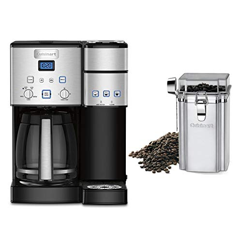 Cuisinart SS-15 Maker Coffee Center 12-Cup Coffeemaker and Single-Serve Brewer (Silver) Bundle with Cuisinart Coffee Canister (2 Items)