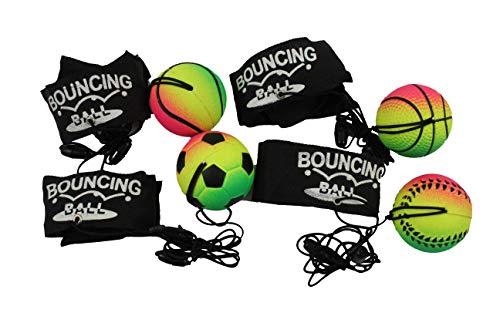 Creation Gross 4er Set Neon-Springball/Returnball/Flummi, Armband & Schnur, Safety Clip, Fußball/Tennisball/Basketball/Baseball Ø4,7cm (2700021)