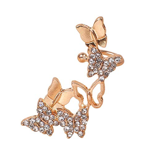 LUOSI Clips Ear Clip On Earrings For Women Gold Color Plated Ear Cuff With Crystal (Main Stone Color : Clear, Metal Color : Gold color)