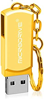 QGT USB Flash Drives 64GB USB 2.0 Creative Personality Metal U Disk with Keychain (Gold) (Color : Gold)