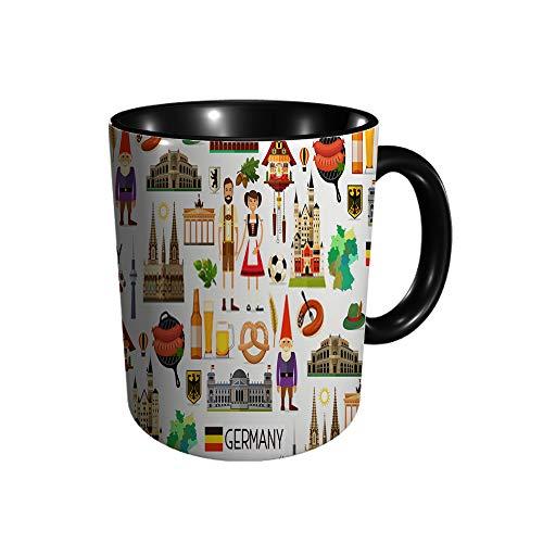 Taza de cerámica con diseño de mapa de viaje de Alemania e taza de cerámica, taza de café, taza de té, para oficina y hogar, regalo de salud, capacidad máxima 11 oz, impresión completa