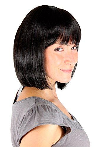 WIG ME UP ® - 7803-2 Perücke schwarz wie Mia aus Pulp Fiction Bob glattes kinnlanges Haar