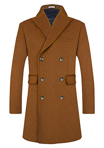 Mens Wool Trench Coat Winter Blend Top Pea Coat Long Double Breasted Classic Stylish Business Overcoat (1965) - Camel S