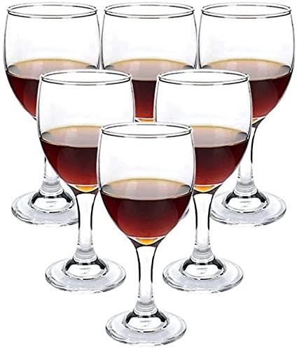 ZRDSZWZ Juego de 6 copas de vino de cristal fiables para vino tinto, vasos de vino pequeños, adecuados para uso doméstico (color: transparente)