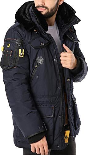 Geographical Norway Herren Winterjacke – Modell Acore – Mantel mit Kapuze – Gefütterter Warmer Anorak - Outdoor Kapuzenjacke Winter 2019/20 (M, Navy)
