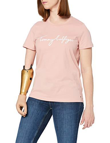 Tommy Hilfiger Crew Neck Graphic tee Camiseta sin Mangas para bebés y niños pequeños, Rosa calmante, M para Mujer