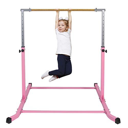 Gymbarpro Gymnastics Junior Training Bar for Kids| Expandable Gym Jr Horizontal Kip Bar for Gymnast Beginner Home Training, Pink Bar