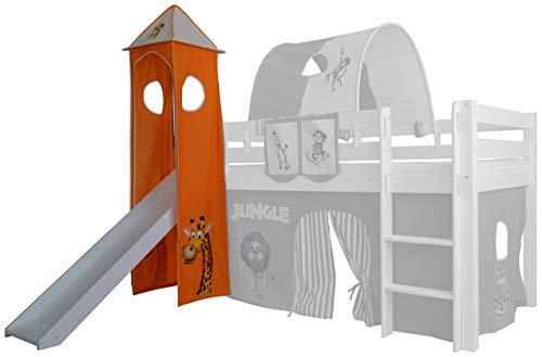 XXL Discount Turm-Vorhang 100% Baumwolle für Hochbett Spielbett Stockbett Kinderbett Kinderzimmer Spielturm mit Turmgestell (Orange/Beige, Dscuhngel)