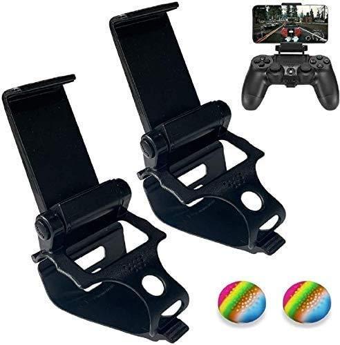 TPFOON 2 Stück Klapp Handy Halterung für PS4 Controller, Clip Handyhalter Smart Phone Game Clamp für Playstaion 4 Controller