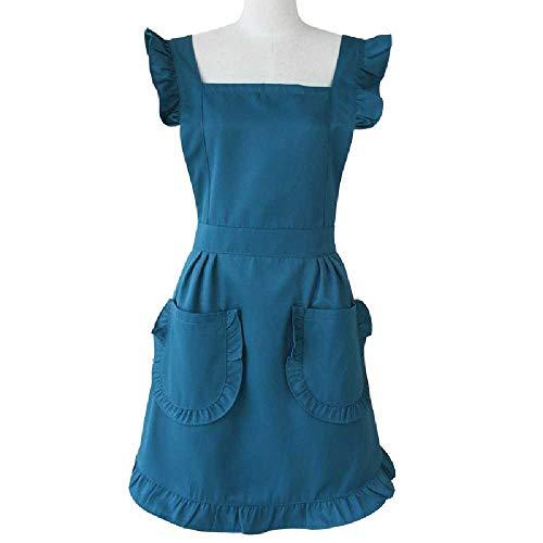 wangtao Retro Verstelbare Ruches Keukenschorten Voor Vrouw Koken Schoonmaakmeid Kostuum Dames Taart Keuken Met Zakken S/B