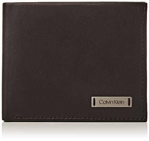 Calvin Klein Smooth W Plaque Slimfold 6cc - Porta carte di credito Uomo, Nero (Black), 0.1x0.1x0.1 cm (B x H T)