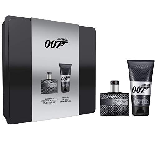 James Bond 007 for Man Tin Box, Frisches raffiniertes Eau de Toilette und Duschgel für jeden Anlass, für den modernen Mann , 1 x 30 ml und 1 x 50 ml