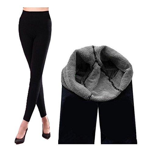 Miya® modisch Mode, einzigartige Thermo Leggings, super elastisch, extra weich, innen mit Wolle verdickt, Schönheit trotz Warmheit, Farbe schwarz (XS-S)
