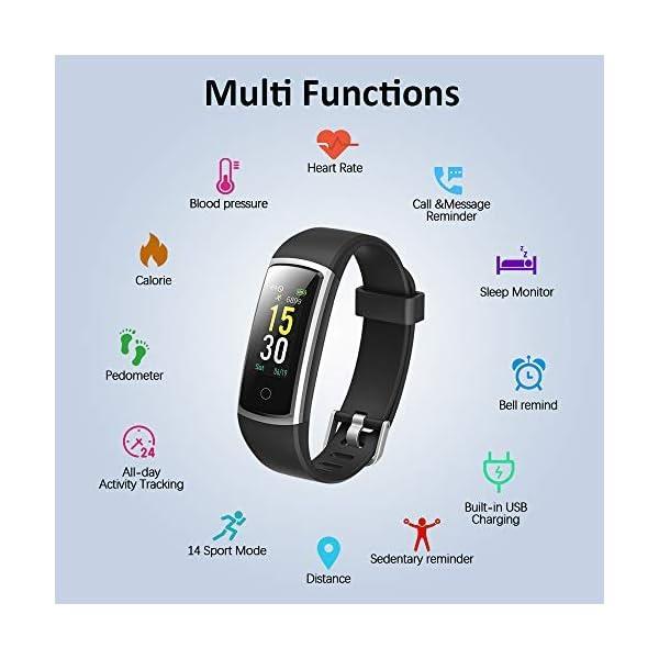 Lintelek Pulsera Actividad, Reloj Inteligente con Medidor de Ritmo Cardíaco Presión Arterial, Reloj Deportivo Compatible… 4