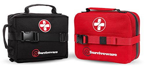 Surviveware Waterproof First Aid Kit and Surviveware Survival First Aid Kit(Black) Bundle