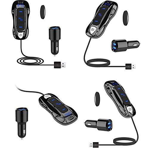CHUN LING Adaptador Aux Bluetooth de automóvil, Cargador de Coche USB Dual, Transmisor de FM Manos Libres de automóvil MP3 Reproductor de MP3 Bluetooth Receptor de automóvil