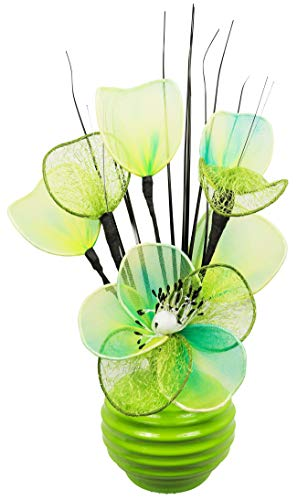 Flourish 32 cm Vase with Mesh Mini Flower TW, 813 Lime/ Green