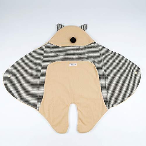 Snufie Saco de dormir para recién nacidos, manta cálida para bebé, de algodón y forro polar, para niñas y niños, manta de punto con orejas para invierno y verano, 0-12 meses, 84 x 70 x 78 cm