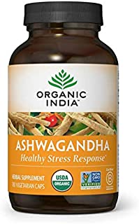 ORGANIC INDIA Ashwagandha Supplement, Healthy Stress Response, 180 Veg Caps