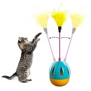 Gobelet Chaton Jouets Balles jouet pour chat Cute Animal domestique d'entraînement Funny Jeu interactif jouet Cat Scratch avec plumes