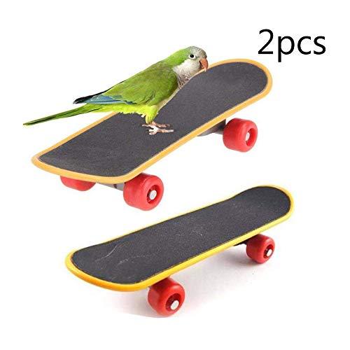 Hamiledyi Parrot Spielzeugen, Skateboard, Ständer Sitzstange für Vogel, Funny Training Sitzstange Spielzeug für Sittiche Wellensittiche Nymphensittich Unzertrennliche Sittiche (2Pcs)