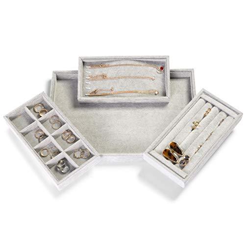 Juvale 4-in-1 Schmucktablett/Schubladen-Organizer, stapelbar, 34 x 24 cm, Grau, Samt