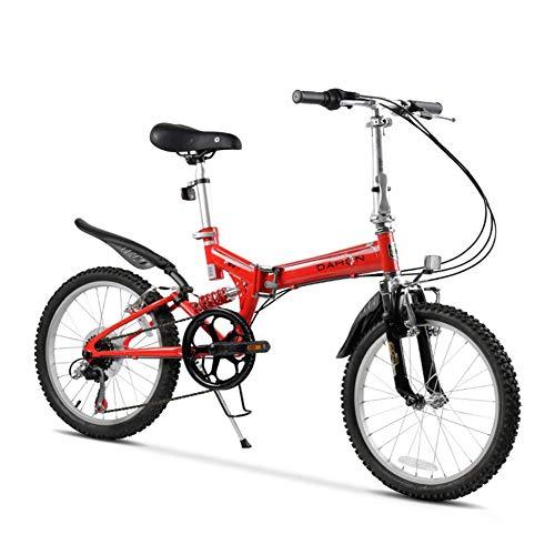 Xiaoyue Erwachsene Mountain Bikes, 20 Zoll 6 Gang Full Suspension Fahrrad, High-Carbon Stahlrahmen, Männer Frauen Gebirgsfahrrad, faltendes Fahrrad, Rot lalay