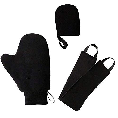 Aplicador de loción bronceadora,juego de autoaplicador 3 en 1 con guante exfoliante,aplicador de manopla autobronceadora de 3 estilos, manopla bronceadora para loción belt