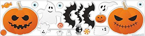 Typographus Halloween Wandaufkleber Fensteraufkleber Set – blasenfreies aufkleben & rückstandsfrei entfernbar - 19 Motive Deko Aufkleber