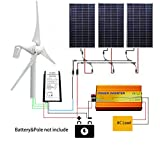 ECO LLC 800W Wind-Solar Generator Kit: 400W Wind Turbine &3PCS 140W Solar Panels &1000W 12V-110V Inverter &20A Hybrid Controller