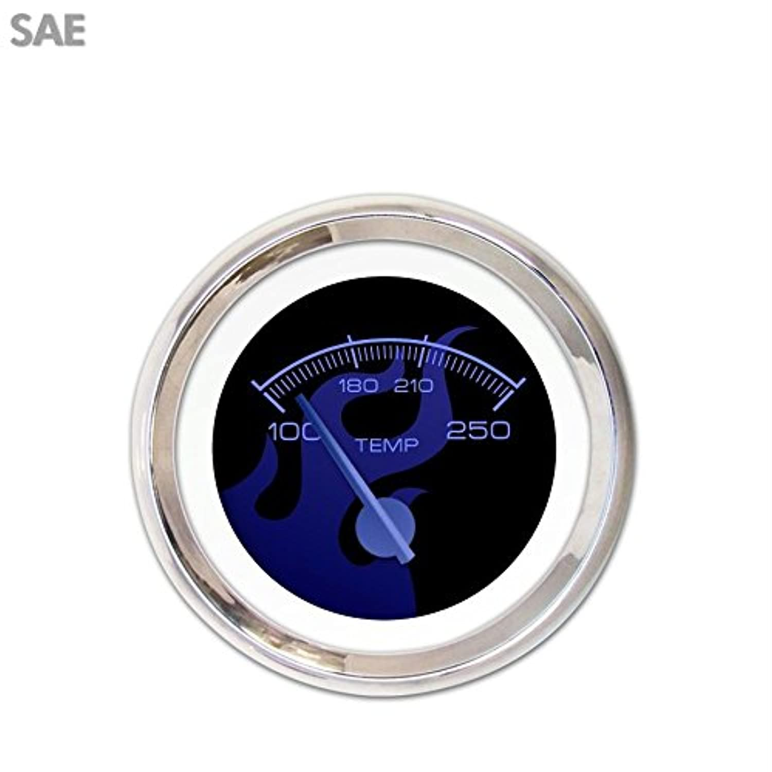 Aurora Instruments 1698 Ghost Flame Black Blue Flame SAE Water Temperature Gauge (Blue Modern Needles, Chrome Trim Rings, Style Kit Installed)