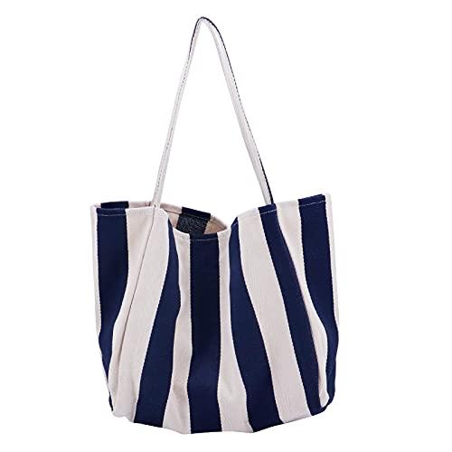 Beowanzk Bolsa Tela Tote Bag Bolsos de Tela Grande Mujer Reutilizables Compra Plegable Bonitas Lona Puedes Poner Frutas y Verduras (azul)