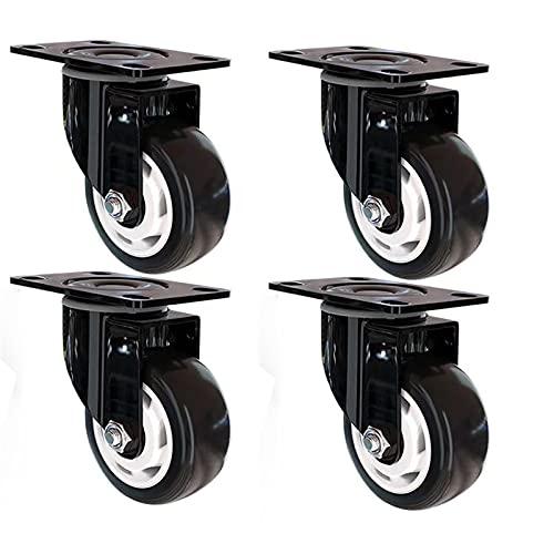 4 ruote girevoli girevoli da 1,5/2/3 pollici silenziose piccole ruote girevoli per mobili da caffè, trolley da caffè, ruote girevoli con freno, ruote in poliuretano, silenziose, antiscivolo (nero)